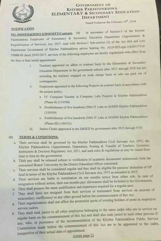 Notification of Regularization KPK Teachers & Other Staff Appointed on Contract Basis