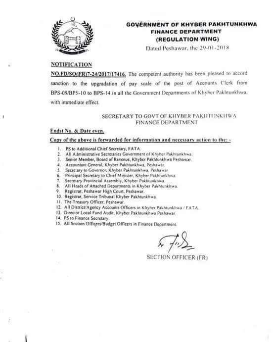 Notification of Upgradation Accounts Clerk KPK