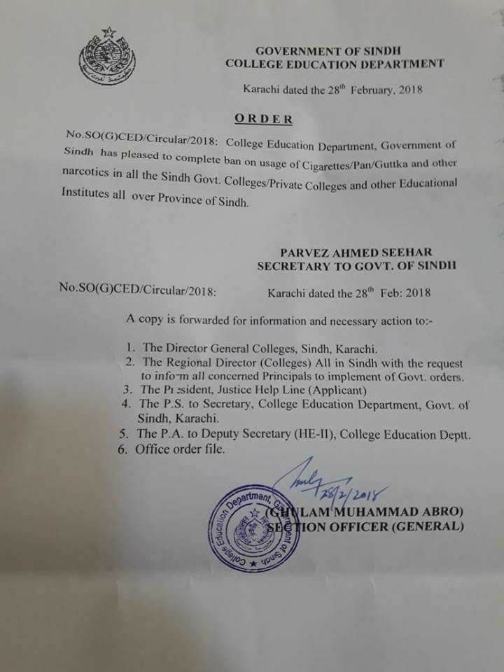 Notification of Complete Ban on Usage of Pan, Guttka, Cigarettes and Other Narcotics-College Education Department Sindh