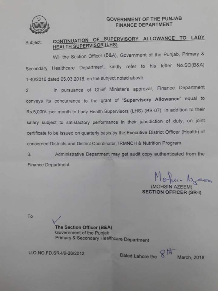 Notification of Continuation Supervisory Allowance to Lady Health Supervisors (LHS)