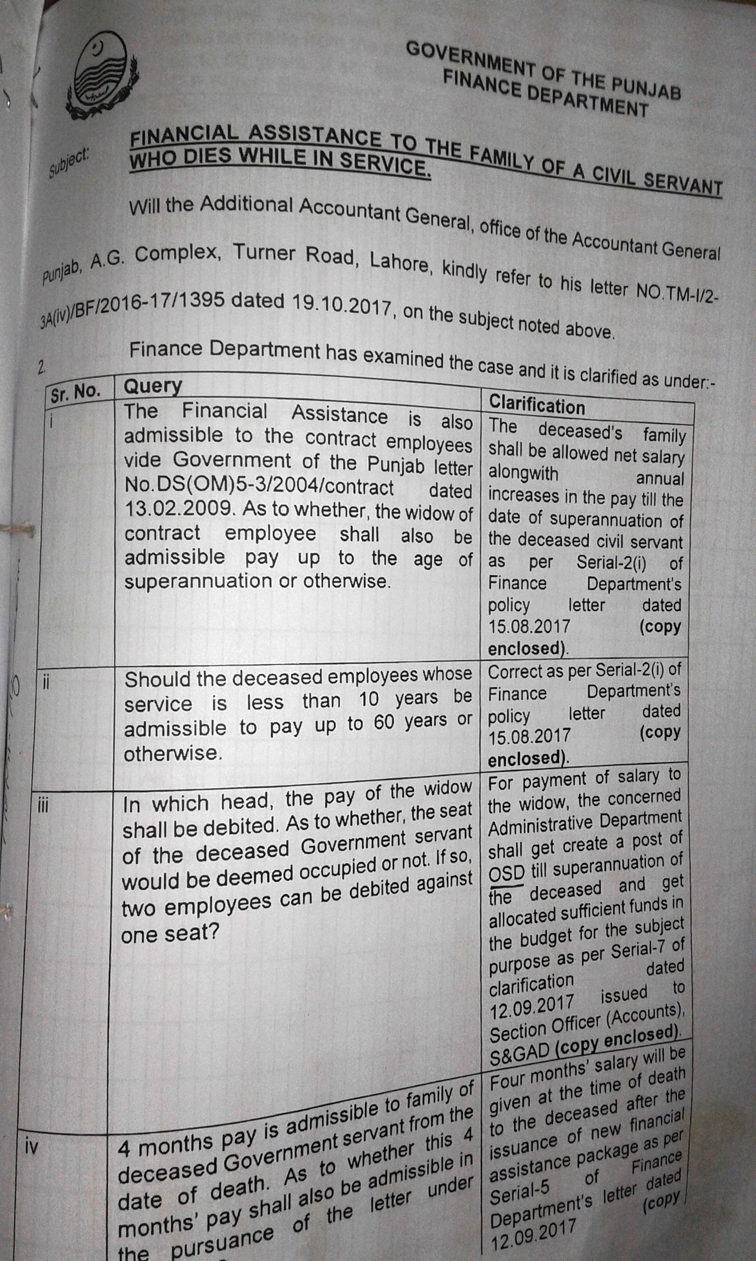 Notification of Financial Assistance Less Than 10 Years Service, Contract Employees, 4 Months Salary-Punjab Govt Clarification