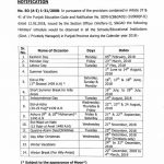 Notification of Holidays Schedule 2018 Punjab Govt School Education Department