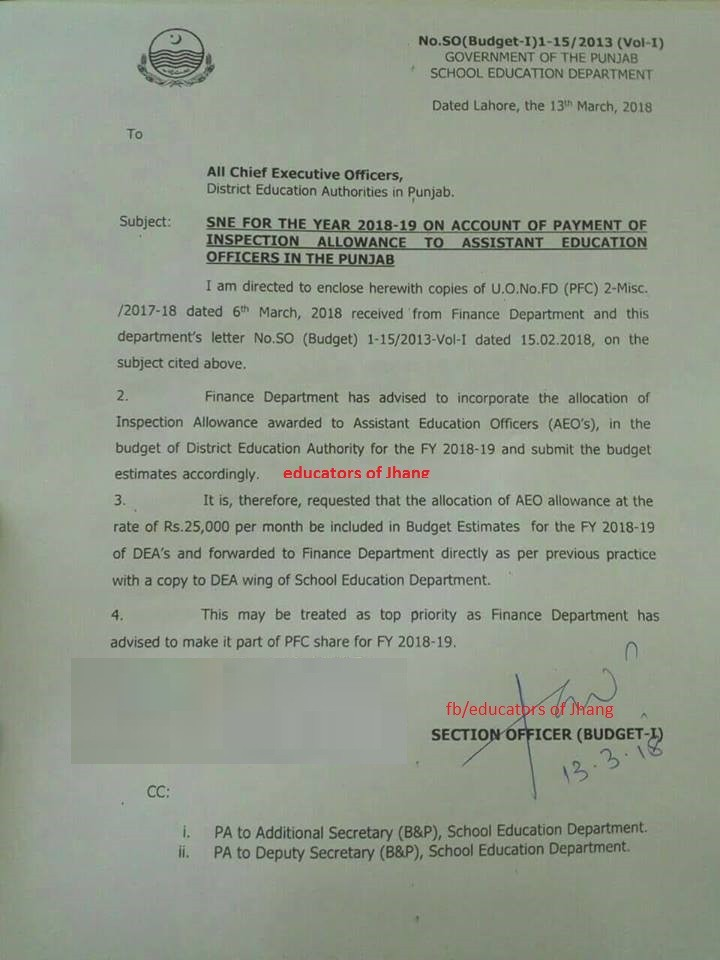 Allocation of Inspection Allowance Rs. 25000 PM Award to Assistant Education Officers