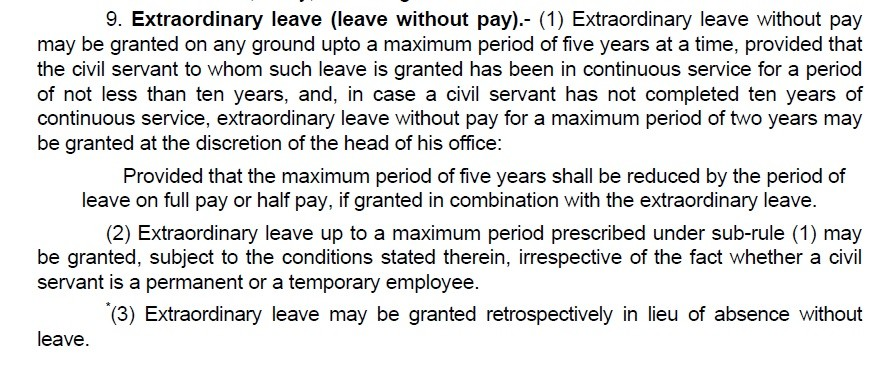 Detail of Extra Ordinary Leave (Leave Without Pay)