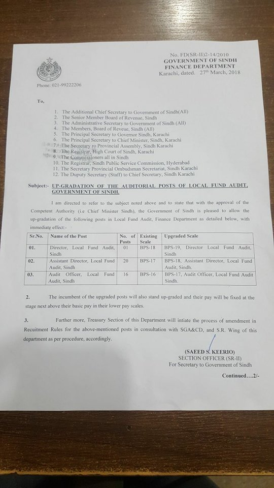 Notification of Upgradation of Various posts in Local Fund Audit-Sindh