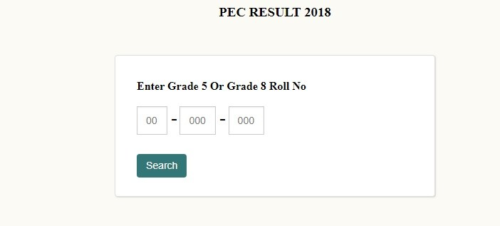 PEC Exam 2018 Result 5th & 8th Grade Exam