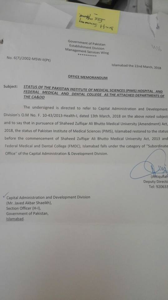 Status of the PIMS Hospital and Federal Medical & Dental College