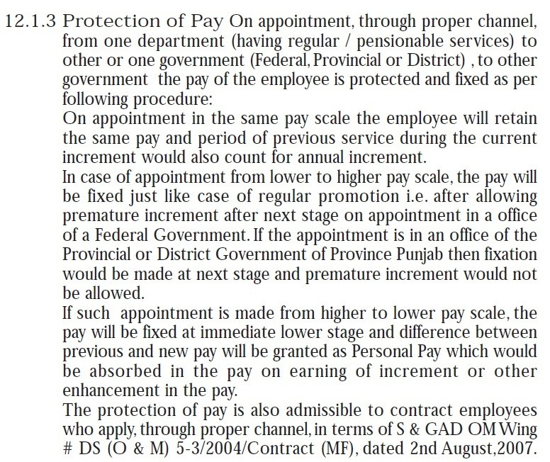 Pay Protection on Appointment through Proper Channel