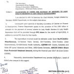 Notification of Allocation Funds for Payment Arrears Lady Health Workers & Lady Health Supervisors