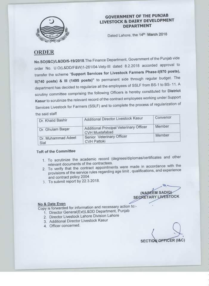 Regularization All Contract Employees BPS-01 to BPS-11 Livestock & Dairy Development Department