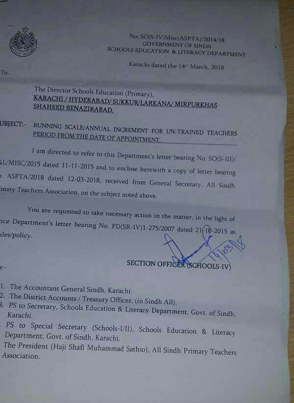 Annual Increment/Running Scale Sindh Govt Untrained Teachers wef Date of Initial Appointment