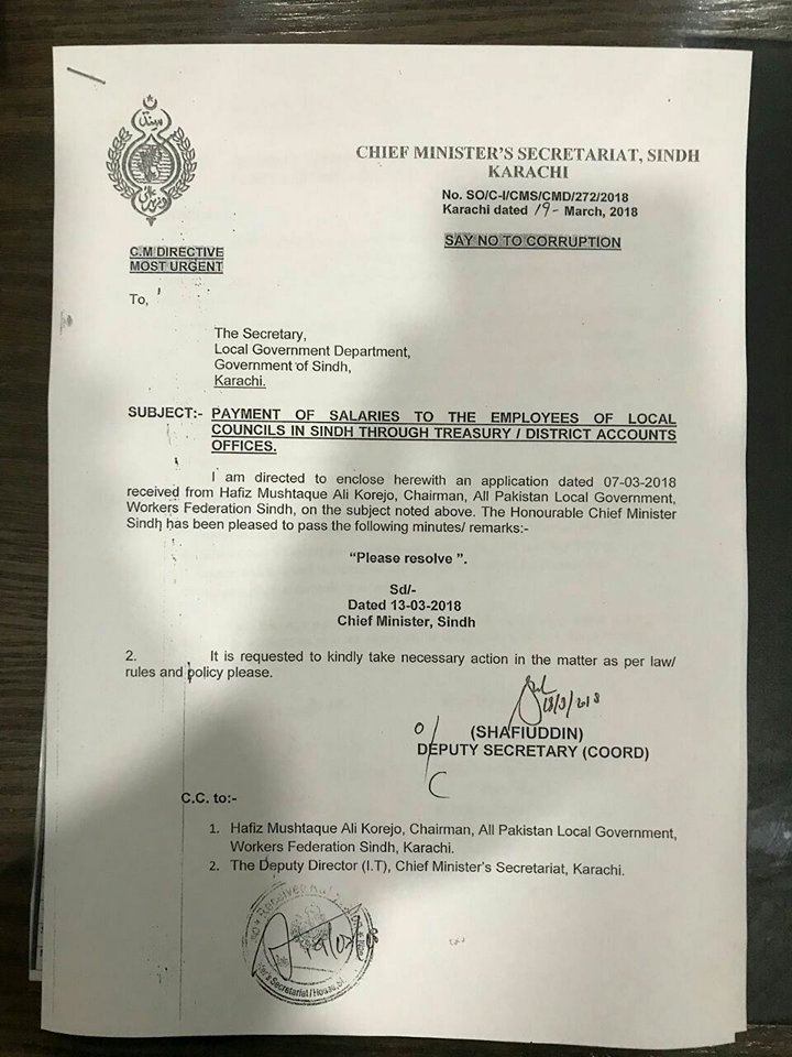 Payment of Salaries Through District Accounts Offices/Treasury to the Employees of Local Councils in Sindh