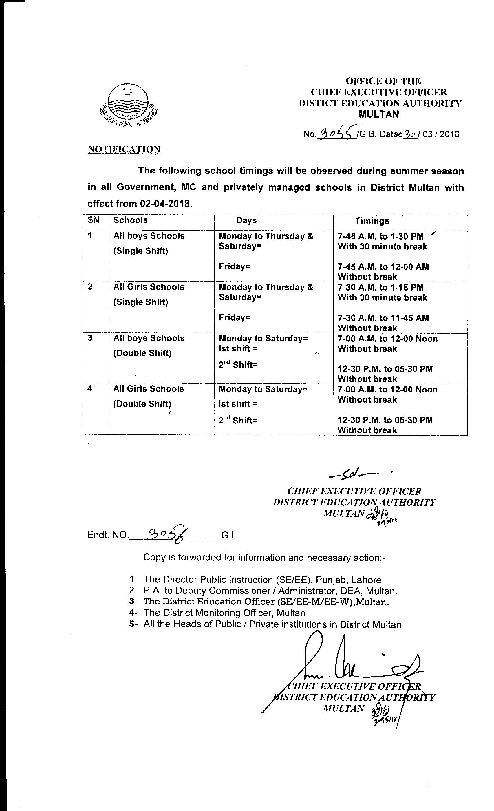 School Timings Summer Season 2018-Notification by CEO, DEA Multan