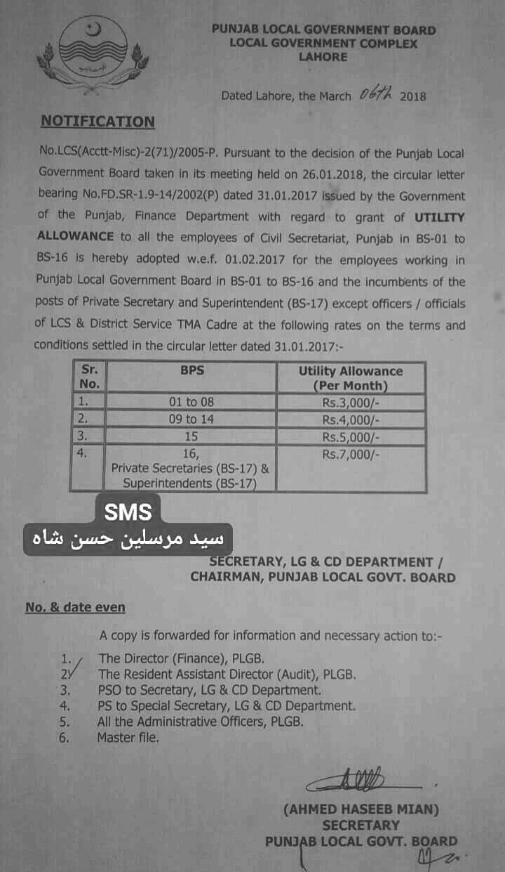 Notification of Utility Allowance Punjab Local Government Board