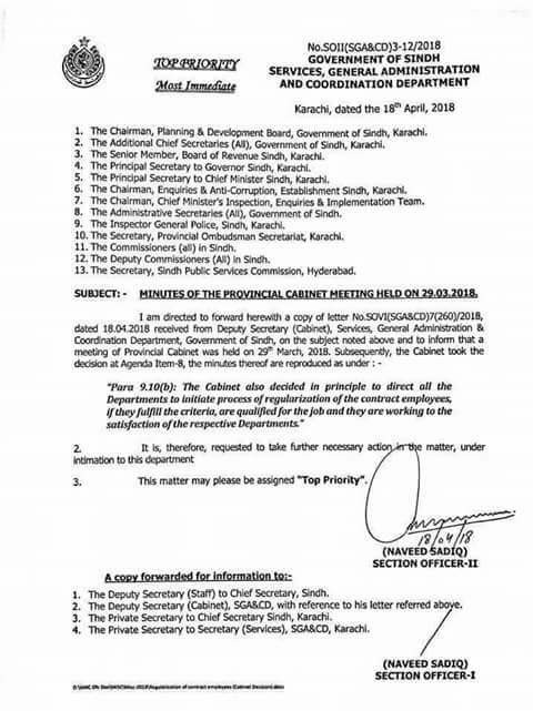 Minutes of the Provincial Cabinet Meeting Regarding Contract Employees Regularization Sindh