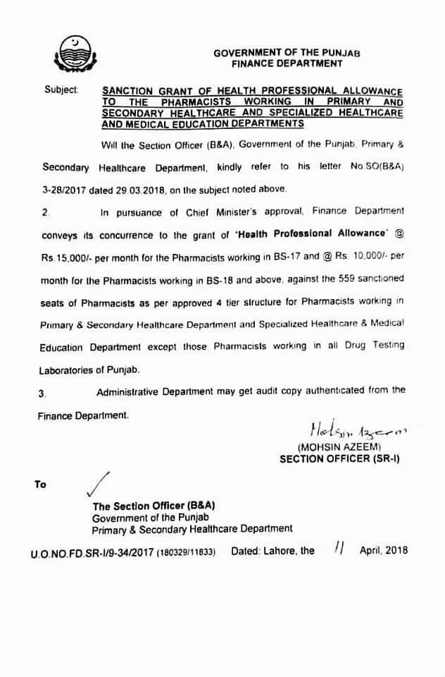 Notification of Health Professional Allowance Pharmacists