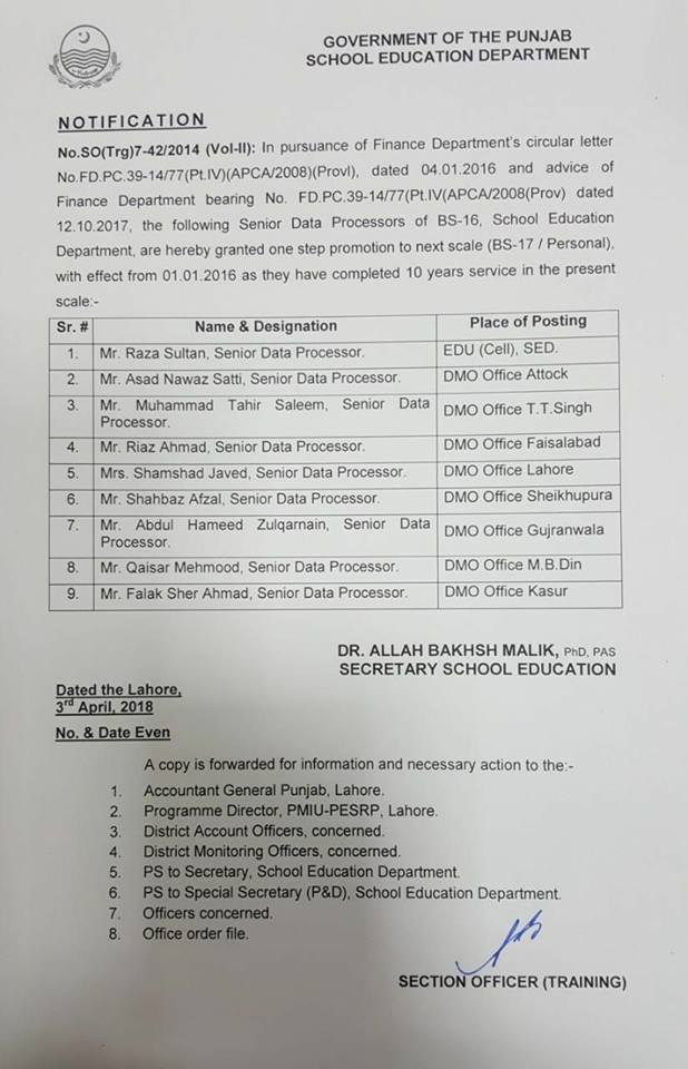 Notification of One Step Promotion Senior Data Processors