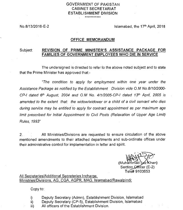 Notification of Revision Prime Minister Assistance Package 2018