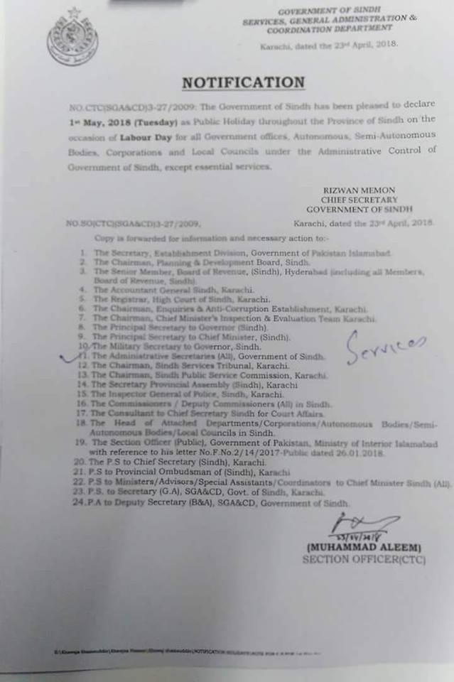 Notification of Public Holiday Labour Day 1st May 2018