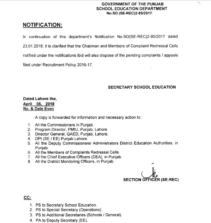 Notification of Clarification of Recruitment Policy Educators