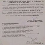 Notification of Announcement Annual Budget 2018-19 Sindh Province