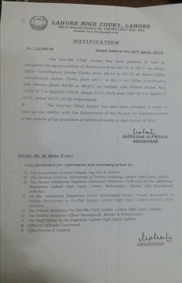Notification of Held in Abeyance Upgradation Senior Clerks, Junior Clerks, Assistants & Drivers-LHC