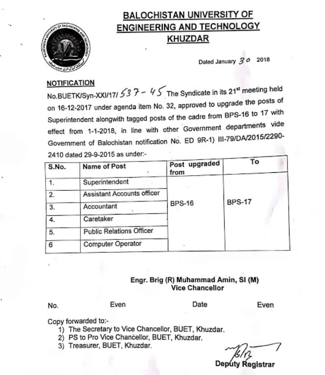 Upgradation Superintendent