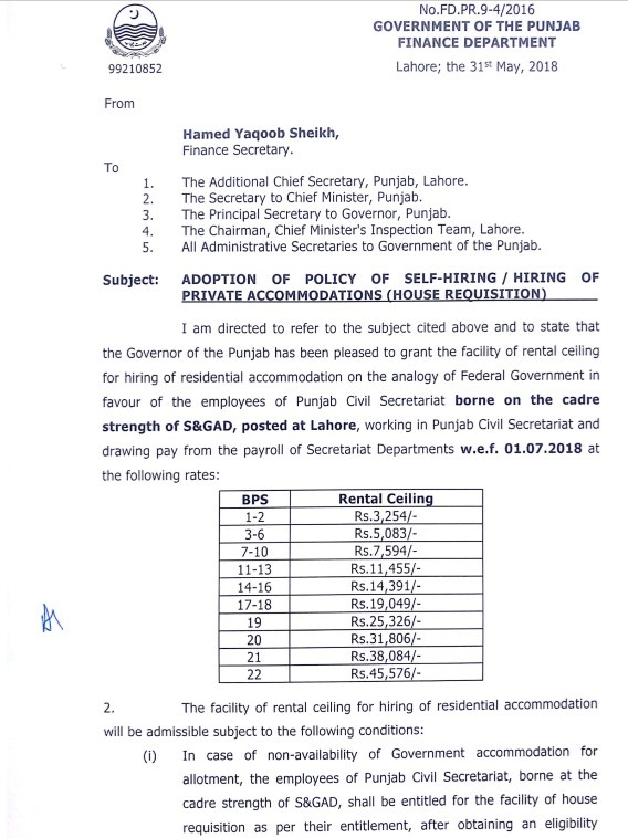 Notification Adoption Policy Self Hiring/Hiring of Private Accommodation (House Requisition) Punjab