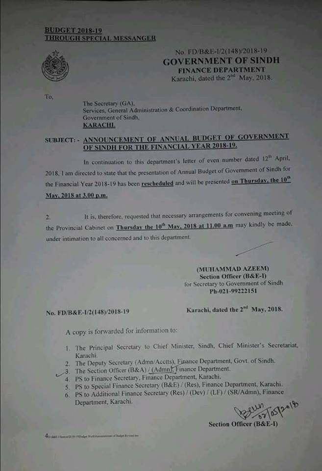 Notification of Rescheduled Date of Announcement Budget 2018 Sindh