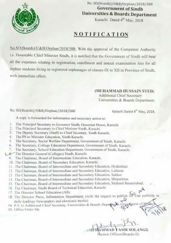 Exemption of Expenses Relating to Registration, Enrollment and Annual Examination Fees for All Orphans Class IX to Class XII