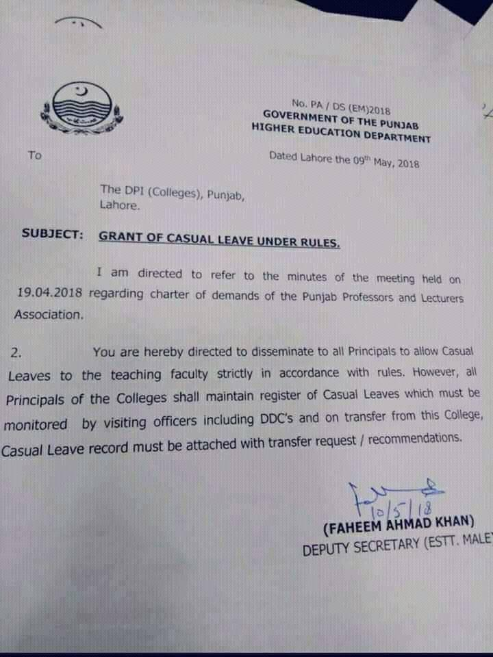 Notification of Grant of Casual Leave Under Rules
