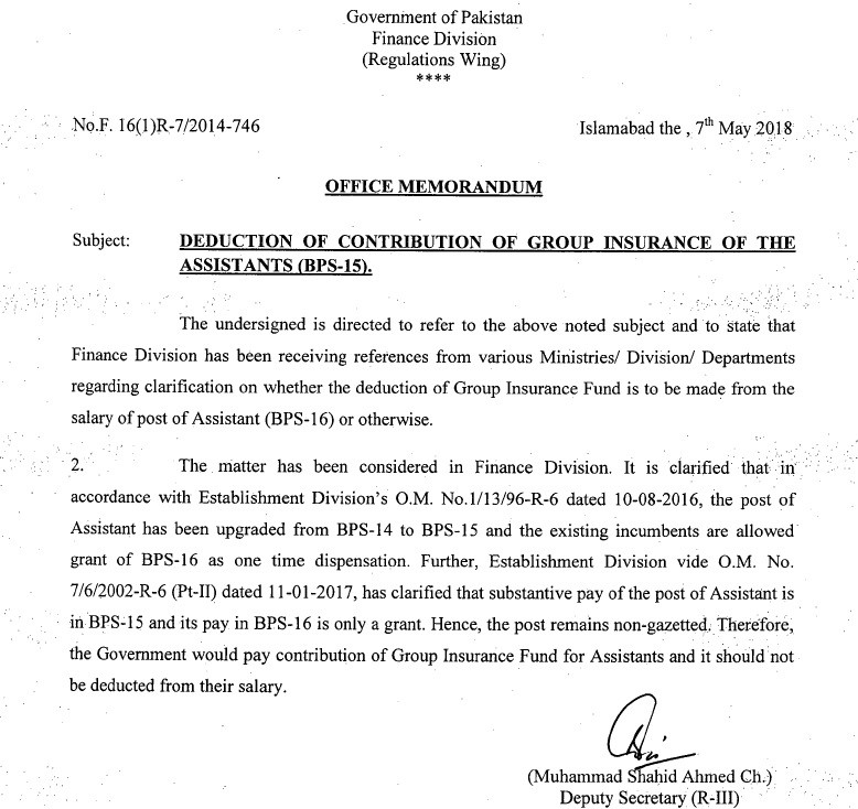 Clarification Deduction Group Insurance Contribution of the Assistants (BPS-15)