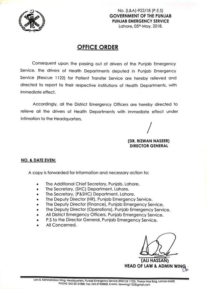 Office Order of Relieving of Drivers Health Department Deputed in Rescue 1122