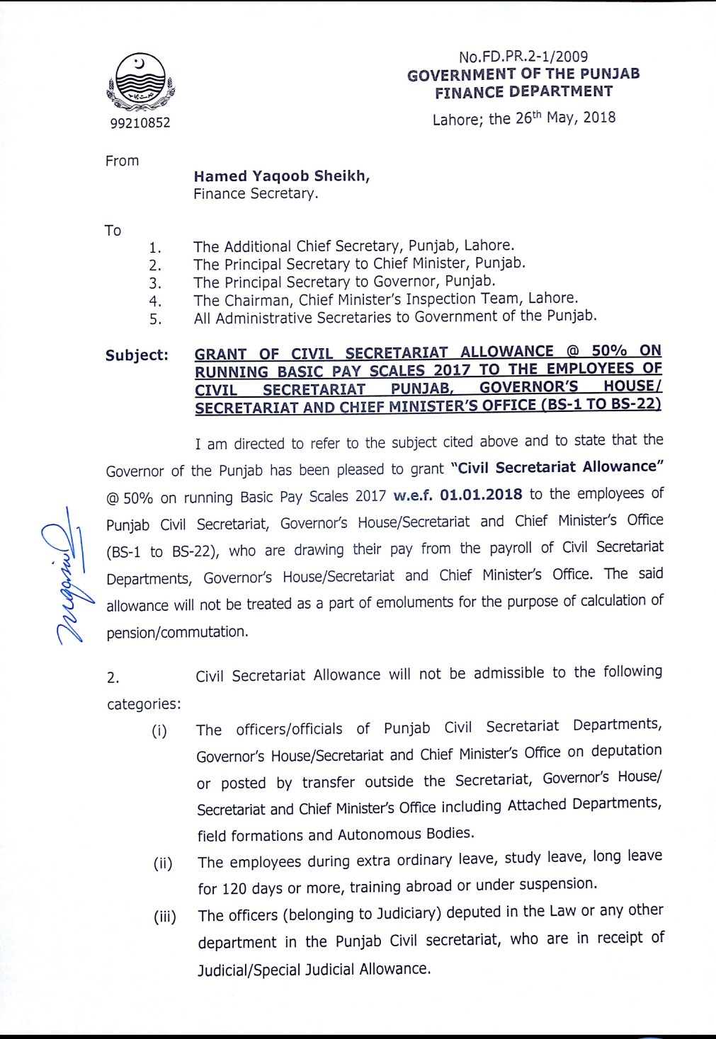 Grant 50% Civil Secretariat Allowance