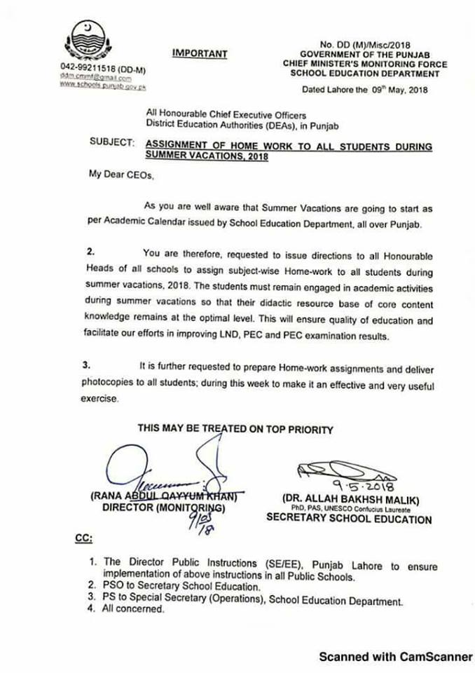 Notification of Assignment of Home Task Summer Vacation 2018 to all Students