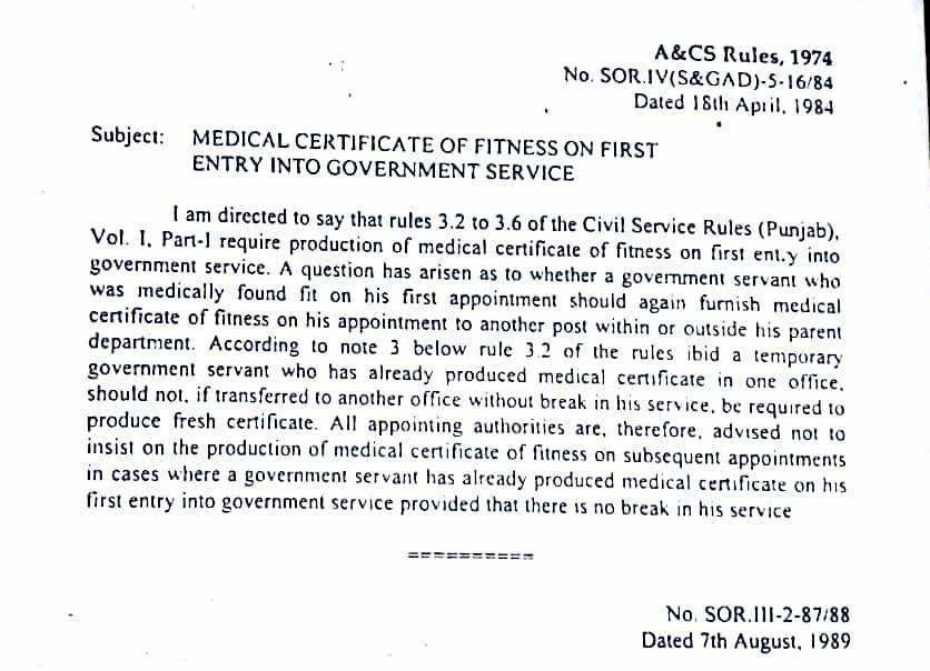 Medical Fitness Certificate on First Entry into Government Service