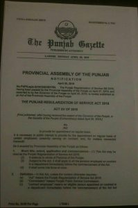 Notification of the Punjab Regularization of Service Act 2018