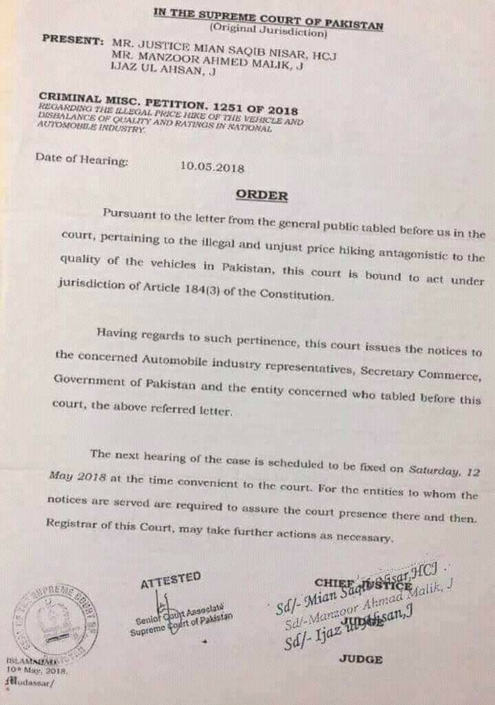 Order Regarding Illegal and Unjust Price Hiking Antagonistic to the Quality of Vehicles in Pakistan