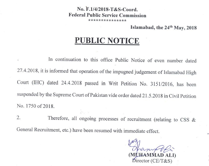 Public Notice of Resuming Appointment FPSC