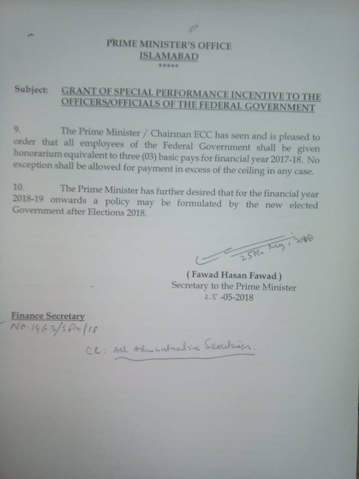 Grant of Three Months Basic Pay for All Federal Government