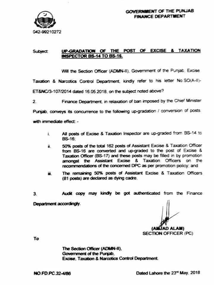 Notification of Upgradation Conversion Excise & Taxation Inspector from BPS-14 to BPS-16 & BPS-17