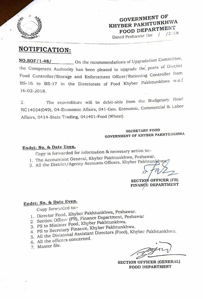 Notification of Upgradation District Food Controller/Storage and Enforcement Officer/Rationing Controller-KPK
