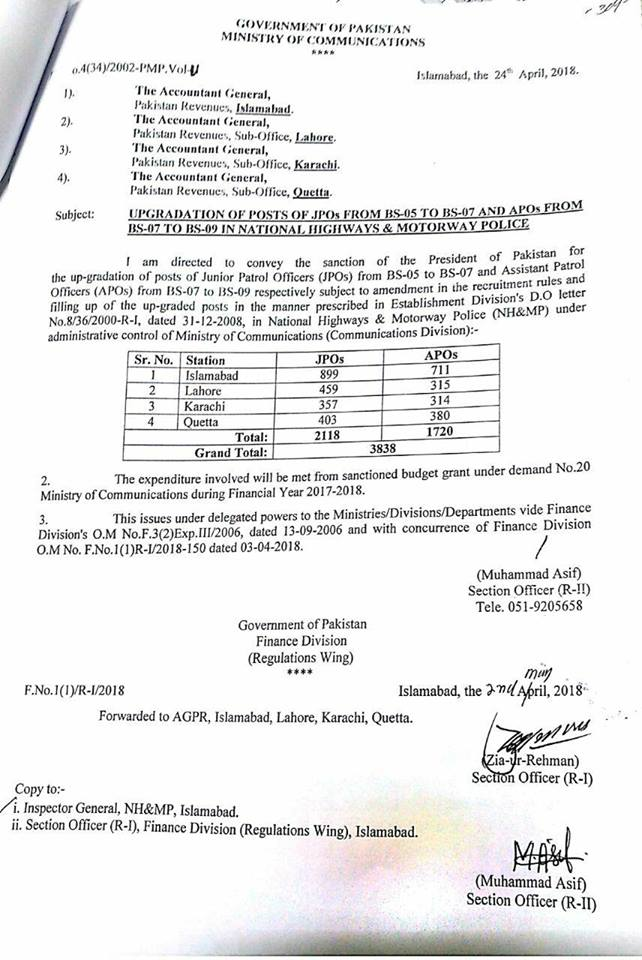 Upgradation of the Posts of JPOs from BPS-05 to BPS-07 & APOs from BPS-07 to BPS-09-Ministry of Communication