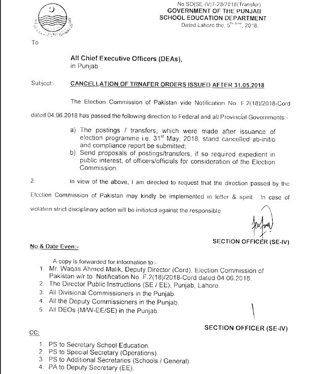Notification of Cancellation Transfer Orders Issued After 31-05-2018