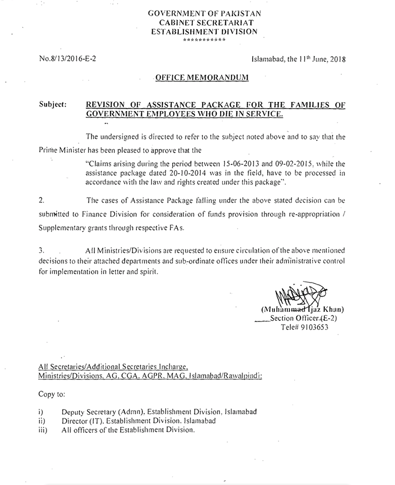 Notification of Claims Assistance Package Between 15-06-2013 to 09-02-2015