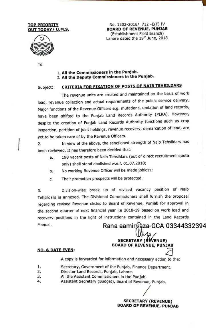 Notification of Criteria for Fixation Naib Tehsildars Posts