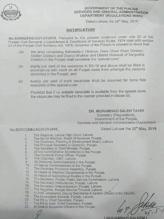 Notification of Grant 20% Quota Special Zone Multan, Dera Ghazi Khan, Bahawalpur Division & Bhakkar & Mianwali Districts