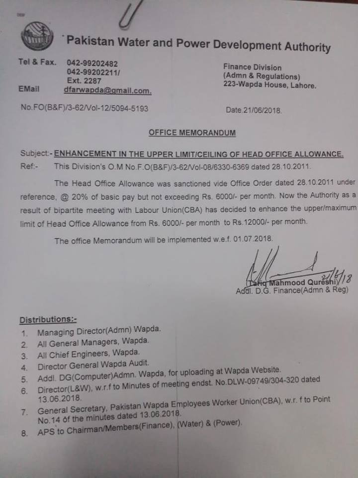 Notification of Enhancement in the Upper Limit/Ceiling of Head Office Allowance