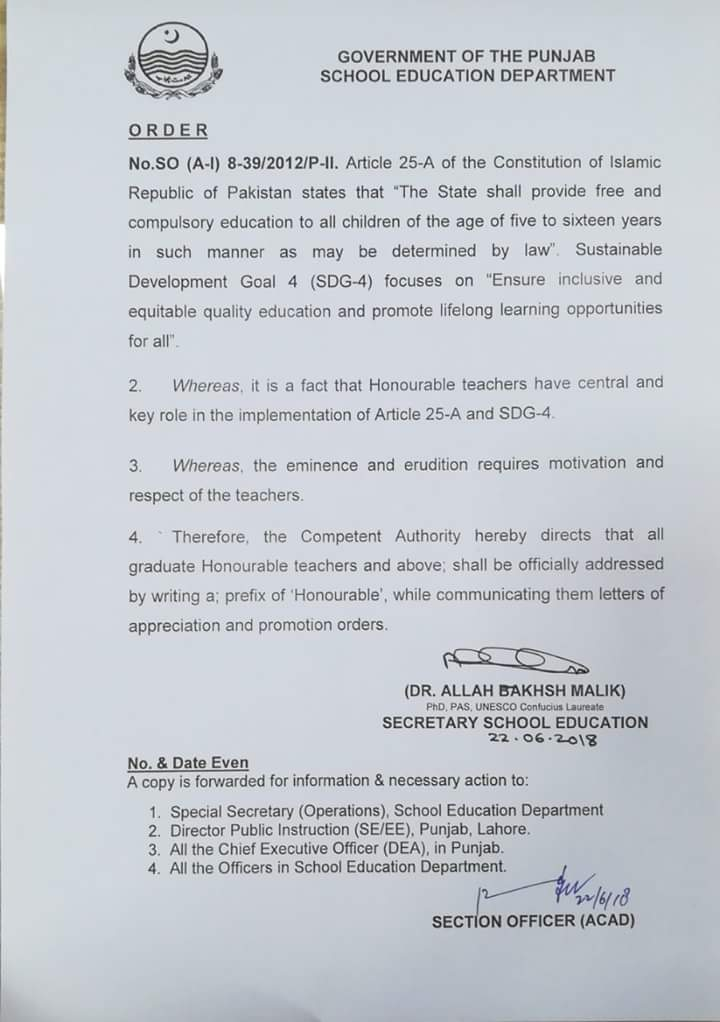 Notification of Addressing by Prefix of Honourable for all Graduate Teachers