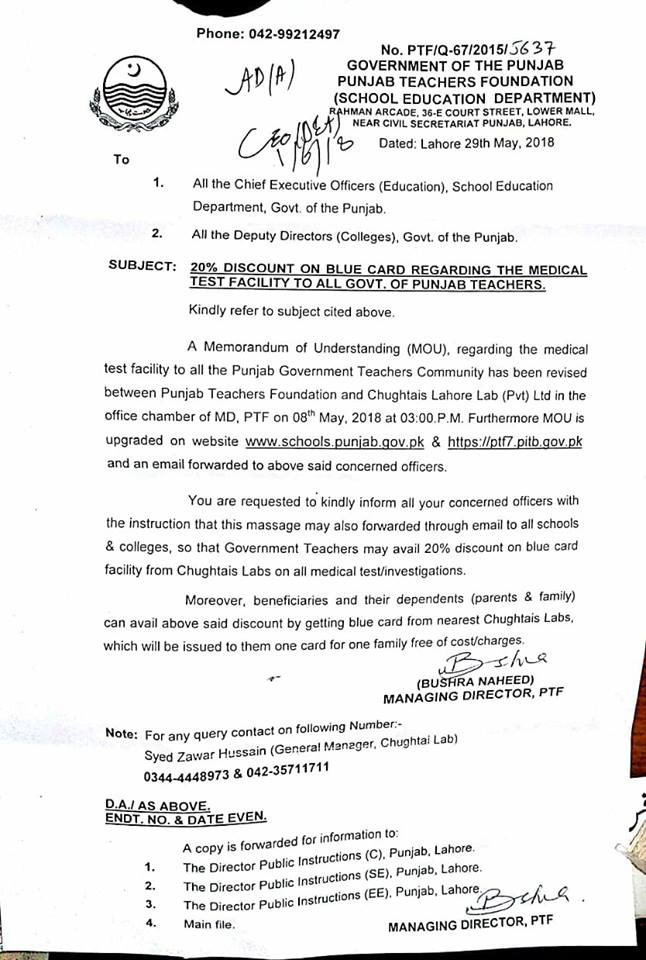 Notification 20% Discount Blue Card Regarding the Medical Tests Facility to All Govt of Punjab Teachers